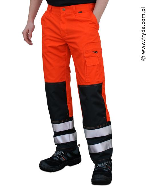 Spodnie robocze pomarańczowe (z odblaskami)